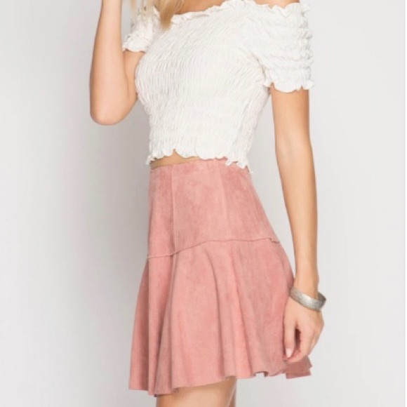 Blush Pink Faux Suede Skirt NWT